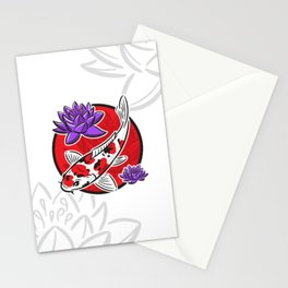 Carp koi with water lilies Stationery Cards