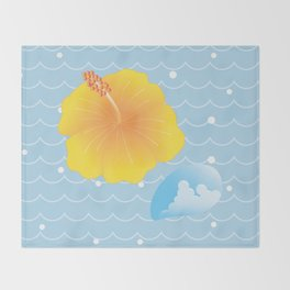 Hibiscus and Thunderhead reflected on the wave_Y Throw Blanket