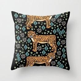 Cheetah safari art printmaking screen print giclee by andrea lauren Throw Pillow