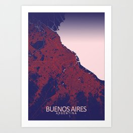 Buenos Aires, Argentina, Blue,  White, City, Map Art Print