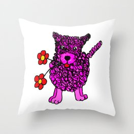 Cute Pink Scribbly Dog Throw Pillow