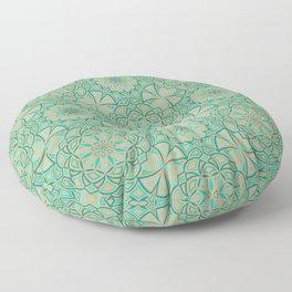 Aqua Golden Mandala Floor Pillow