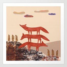 Three Foxes Art Print