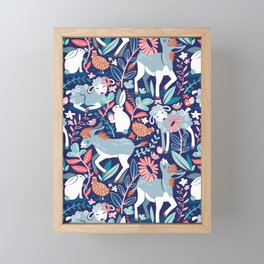 Spring Joy // navy blue background pale blue lambs and donkeys coral and teal garden Framed Mini Art Print