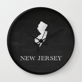 New Jersey State Map Chalk Drawing Wall Clock