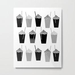 Coffees - black and white iced coffee pattern print cafe mocha chocolate dessert sugar sweet minimal Metal Print