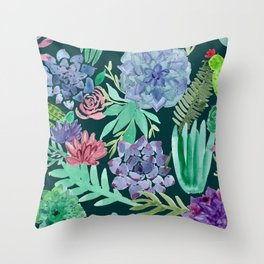 Watercolor Succulent Collage Throw Pillow