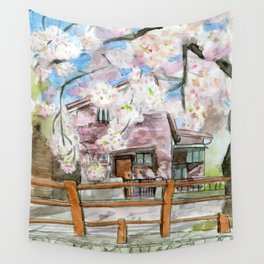 A Tokyo House in Spring Wall Tapestry