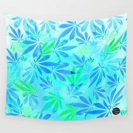Blue Mint Cannabis Swirl Wall Tapestry