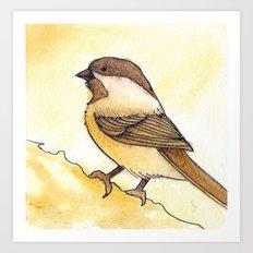 Yellow Black-capped Chickadee Art Print