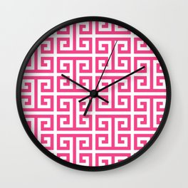 Large Pink and White Greek Key Pattern Wall Clock