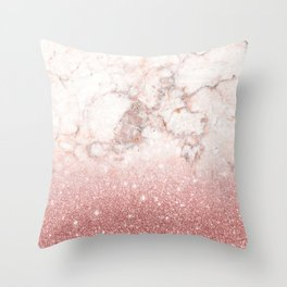 Elegant Faux Rose Gold Glitter White Marble Ombre Throw Pillow