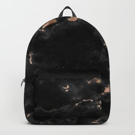 Chic abstract rose gold black elegant marble Backpack