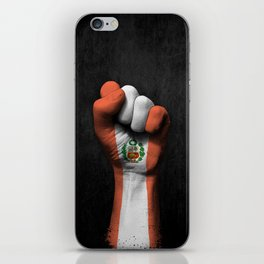 Peruvian Flag on a Raised Clenched Fist iPhone Skin