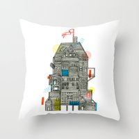 camp Throw Pillows featuring Holiday Camp by Marcelo Romero