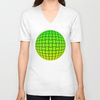yellow pattern V-neck T-shirts featuring Weave Pattern - Green/Yellow by Lyle Hatch