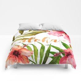 Aloha Watercolor Tropical Hawaiian leaves and flowers Comforters