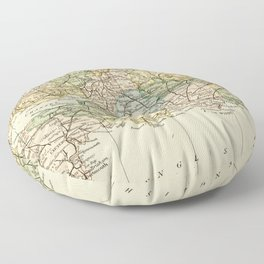 England and Wales Vintage Map Floor Pillow
