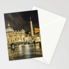 Saint Peters Basilica Winter Night Scene, Rome, Italy Stationery Cards
