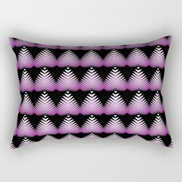 Pattern of purple hearts and flowers on a black background. Rectangular Pillow