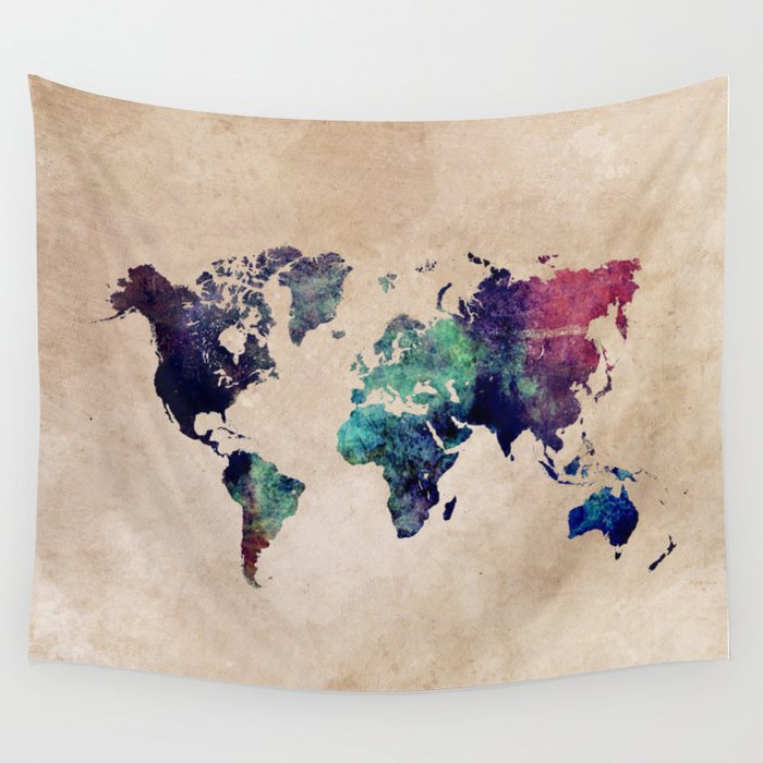 Cold World Map #map #worldmap Wall Tapestry