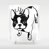 french bulldog Shower Curtains featuring French bulldog by Pendientera