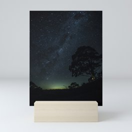 Landscape Photography Milky Way Galaxy Night Sky Stars Tree Silhouette Green Blue Ombre Sky Mini Art Print