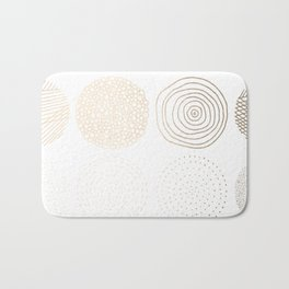 Simply Mod Circles in White Gold Sands on White Bath Mat