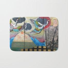 Crane triptych Bath Mat