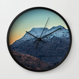 Sunset on a Snow Covered Mountain Photography Print Wall Clock