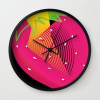 strawberry Wall Clocks featuring Strawberry  by deedesigns