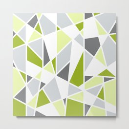 Geometric Pattern in Lime, Yellow, Gray Metal Print