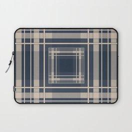 Simple beige blue plaid Laptop Sleeve