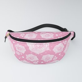 White Rose Gentle on Pink Circular Pattern Fanny Pack