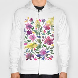 Tranquil Purple Pink and Yellow Watercolor Florals Hoody
