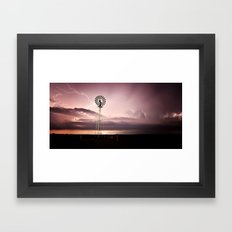 Windmill Lightening Strike Framed Art Print