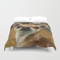 levi Duvet Covers featuring Four eyed Chihuahua?! by Carncross Photography