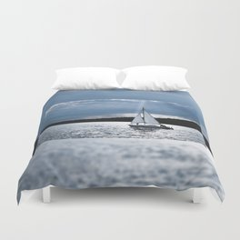 Blue moon light night sailing Duvet Cover