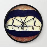 teeth Wall Clocks featuring  Teeth by Hayleydonovan