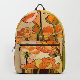70s, Orange California poppies, mid century, 70s retro, flowers Backpack