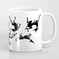 greyhound Mugs featuring greyhound yoga by Matt Mawson