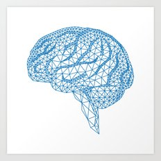 blue human brain Art Print