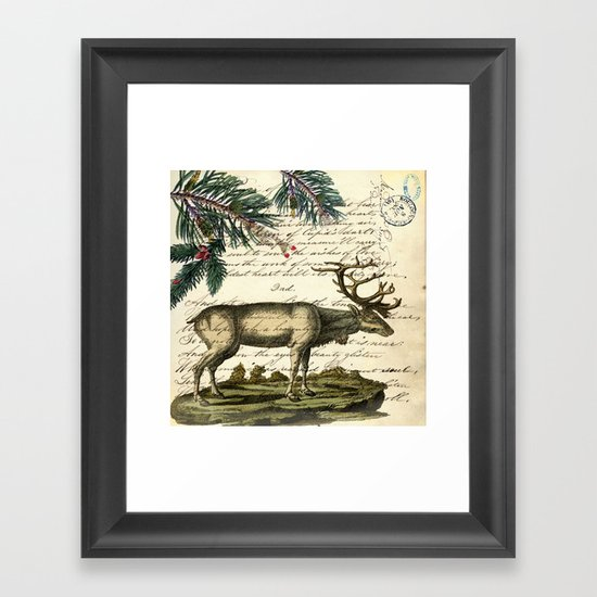 western country primitive christmas mountain animal wildlife winter pine tree elk by chicelegantboutique