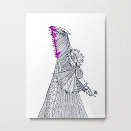 Hippie Girly Dragon Metal Print