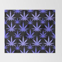 Marijuana Violet Blue Weed Throw Blanket