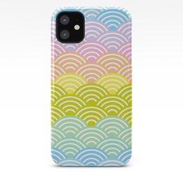 Seigaiha or seigainami literally means blue wave of the sea. rainbow pattern abstract scale iPhone Case