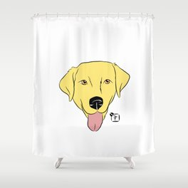 Yellow Lab Face Shower Curtain