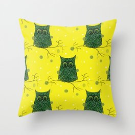 Owl On A Branch Throw Pillow