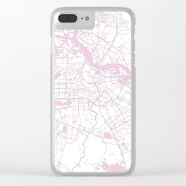 Amsterdam White on Pink Street Map Clear iPhone Case