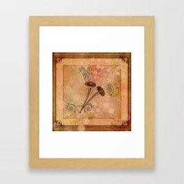 Music, pipe with clef and key notes Framed Art Print